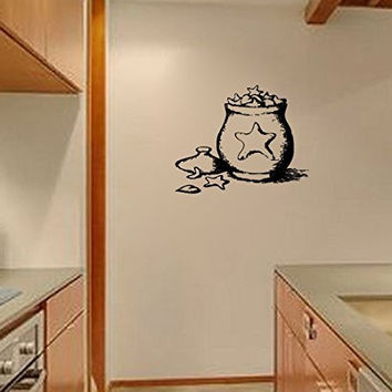 Primitive Country Star Cookie Jar Silhouette Vinyl Wall Decal Sticker Graphic