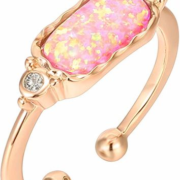 14K Rose Gold Plated Stackable Ring with Created Opal Ring - Adjustable