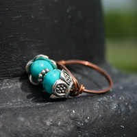 Ring Size 7.5 Unique Turquoise Ring Wire Wrapped Antique Copper
