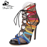 Fashion New 2016 Women's Peep Toe High Heels Shoes Cross-tied Gladiator Women Sandals Multicolor Woman shoes Rainbow Shoes us 7