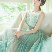 Beautiful Beads Decorated Collar Sleeveless Green Gauze Pleated Dress