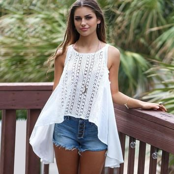 Women Lace Scoop Neck Sleeveless Strap Halterneck Crop Tops