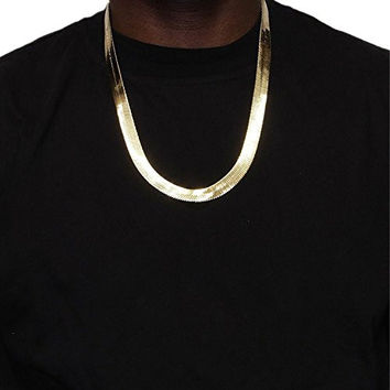 14k Gold Plated Herringbone Chain Necklace 11mm X 24""