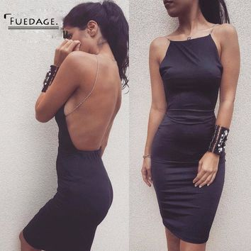 Very Popular Black Sexy Women Dress 2017 New Year Party Backless Bodycon Dresses Vintage Sleeveless Vestidos White Club Wear
