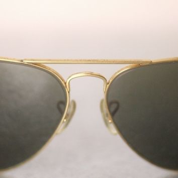 RAY-BAN B&L VINTAGE GOLD COLOURED METAL SUNGLASSES FOR MEN-USED-VERYRARE