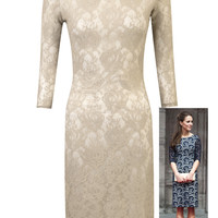 Dressrail.com - Beige Lace Dress