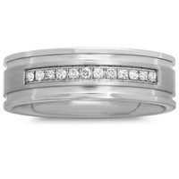 Stainless Steel .12 cttw Diamond Single Row Men's Wedding Band