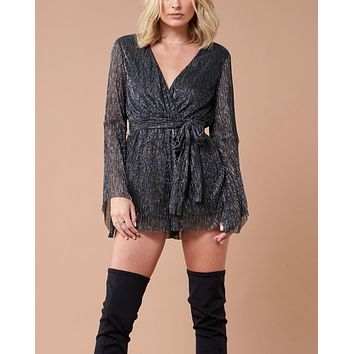 MINKPINK Women's Glistening Pleat Playsuit - Black