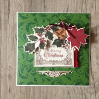 Christmas 3D card - New Year 2015 - scrapbooking 3D - crafted post card - red green rustic - holiday new year 2015 - europeanstreetteam