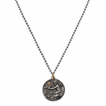 0.02ct Diamonds in 925 Sterling Silver & 24K Gold Cupid Eros Medallion Necklace