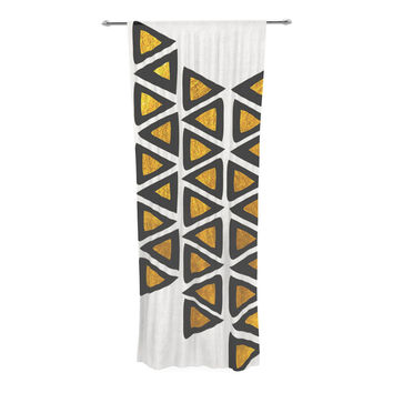 "Pom Graphic Design ""Inca Tribe"" Gold White Decorative Sheer Curtain"