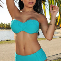 Ruffle Bikini Top with Ruched Bikini Bottom in Blue