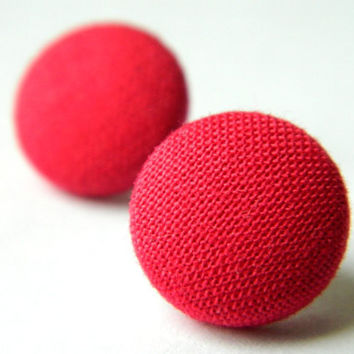 Button Earrings Hot Pink Classic Simple by PushTheButtons on Etsy