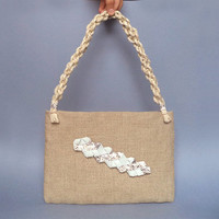 Natural linen and leather purse, braided snake skin leather detail and braided hemp handle