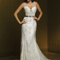 Elegant White A-line Straps Neckline Lace Wedding Dress-SinoSpecial.com