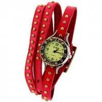 DBS Women's Watch Numbers and Dots Marks Round Dial with Leather Watchband - Red
