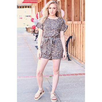 Ruffle Sleeve Leopard Romper {Brown Mix}