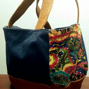 Market Bag - Handmade Leather and Canvas Womens, Mens, Diaper Bag, Purse