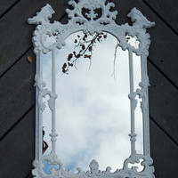 Ornate White Mirror, French Providential, decorative wall mirror, Shabby Chic, scrolls framed mirror, Vanity Mirror, Home & Living, mirrors