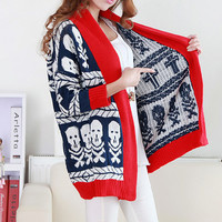 A 091024 Skull bat sleeve knit cardigan sweater