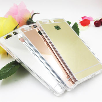 Hot saling Fashion Luxury plating Mirror Back Case For Huawei P9 For Huawei P9 lite Electroplating TPU Clear Soft Cover