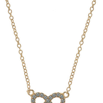 Judith Jack Gold Tone Sterling Silver and Crystal Infinity Pendant Necklace