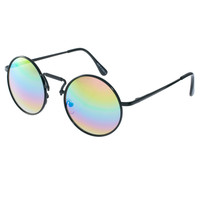 ASOS Round Sunglasses With Multi Colour Mirror Lens
