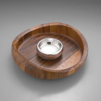 Nambe 5009 Wood with Aluminum Butterfly Chip and Dip Bowl
