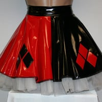 Harley Quinn Cosplay Red & Black Vinyl Skirt. ALL SIZES AVAILABLE!!  Great for Rollerblade, Dance, Rave, Festival, Costumes, Running Skirt