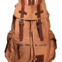 Berchirly Thick Canvas Backpack School Bag Great for School and Camping with Genuine Leather Straps B1039 (Khaki)