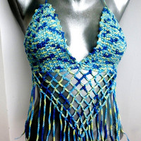 Sexy Crochet Bra Bandeau Folk Multicolor Crop Top Halter Tank Hippie Bohemian Summer Bikini Crochet Festival Top Party Corset Beads Yoga