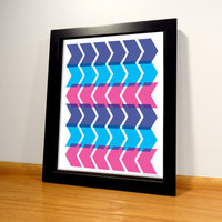 Chevron Geometric Pattern Print - 8x10 Purple and Blue Digital Print