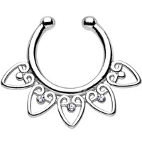 Clear Gem Tribal Hearts Non-Pierced Clip On Septum Ring | Body Candy Body Jewelry