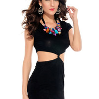Black High Waist Cut-Out Short Sleeve Mini Bodycon Dress