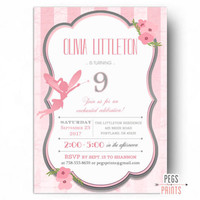 Fairy Birthday Invitation - Fairy Birthday Party Invitation PRINTABLE - Pink Birthday Invitations - Whimsical Fairy Princess Birthday Invite