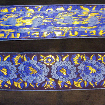 Brocade Jacquard Ribbon Royal Blue Jacqard Trim Wide Vintage