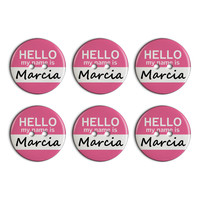 Marcia Hello My Name Is Plastic Resin Button Set of 6