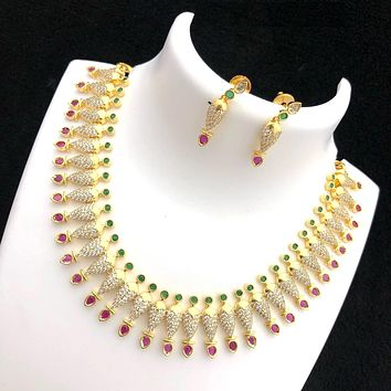 Unique stylish multi color cz stone spike choker necklace and earring set - One gram gold polished