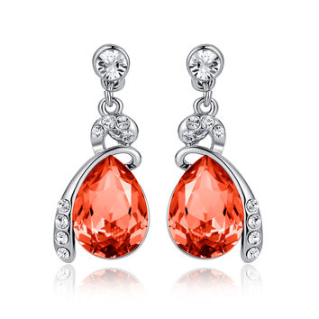 Eternal Love Teardrop Swarovski Elements Crystal Drop Earrings - Orange