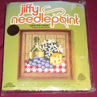 Jiffy Needlepoint Wine and Cheese Pattern 5270 Designed by Beth Rienstra Sunset Designs Stitch Kit