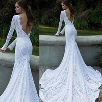 Glamorous Wedding Dress Evening Formal Gown Lace Long Dress