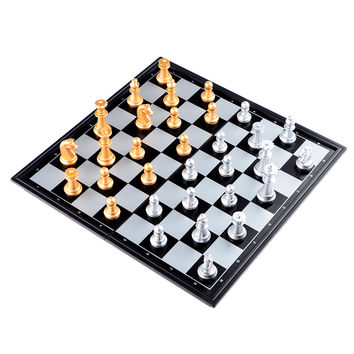2016 New Portable Chess Game Set Checkers Folding Magnetic Chessboard Chess Pieces Set Children Educational Toys Party Game