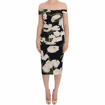 Dolce & Gabbana Black Silk Stretch White Tulip Sheath Dress