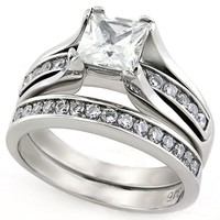 Princess Round Brilliant CZ Stainless Steel Wedding Ring Set