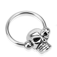 BodyJ4You 14 Gauge Stainless Steel Skull Captive Bead Ring Daith Cartilage Earring
