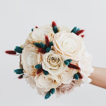 Exclusive Silk Rose and Dried Bunny Tail Bouquet - Ships Alone