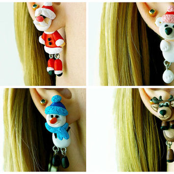 Pair of Real Custom Christmas Xmas Gauges Plugs Piercing 8g, 6g, 4g, 2g, 0g, 00g, 7/16, 1/2, 9/16, 5/8, 3/4, 7/8, 1 inch earrings