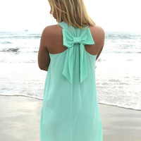 Sleeveless Chiffon A-Line Mini Dress with Back Bowknot