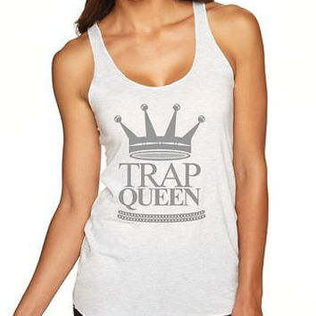 Trap Queen Women's Triblend Racerback Tanktop