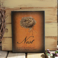 8X10 Canvas Nest Sign - Shabby Cottage, Farmhouse Chic, Home Quote, Nest, Definition, Garden, Kitchen Decor, Vintage Look